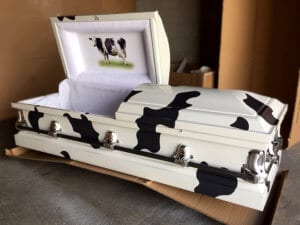 custom cow print casket