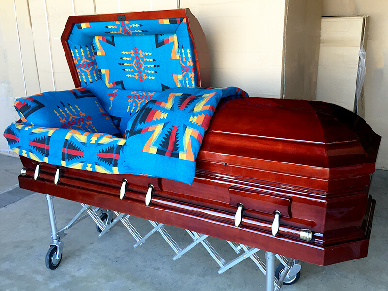 Native American with Navajo Blanket Casket